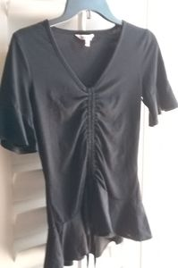 JUICY COUTURE BLACK WOMENS PEPLUM BLOUSE